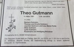 Traueranzeige Theo Gutmann